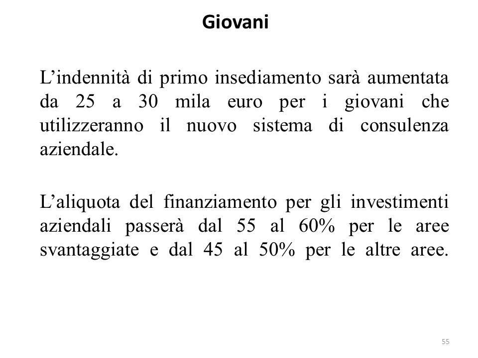 55 Giovani Lindennità di primo insediamento sarà aumentata da 25 a 30 mila euro per i giovani che utilizzeranno il nuovo sistema di consulenza azienda