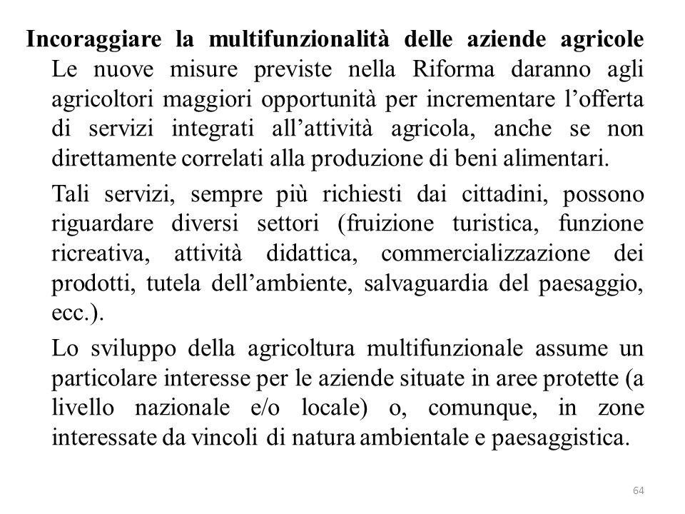 64 Incoraggiare la multifunzionalità delle aziende agricole Le nuove misure previste nella Riforma daranno agli agricoltori maggiori opportunità per i