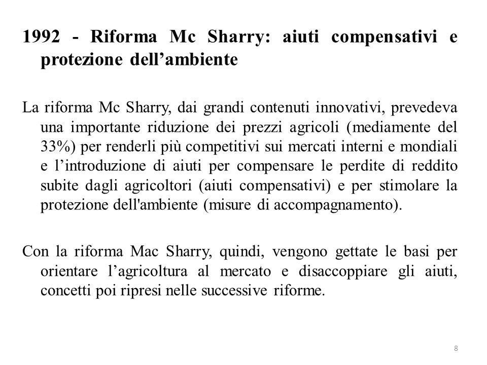 8 1992 - Riforma Mc Sharry: aiuti compensativi e protezione dellambiente La riforma Mc Sharry, dai grandi contenuti innovativi, prevedeva una importan