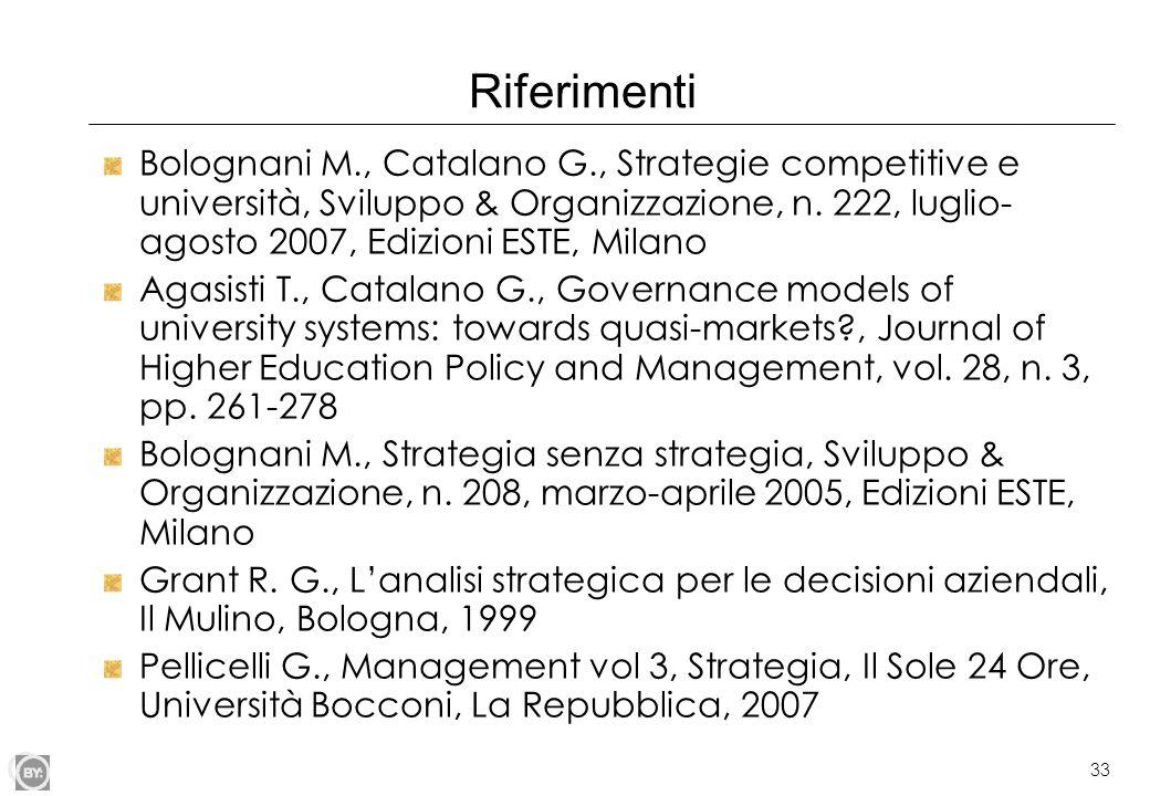 33 Riferimenti Bolognani M., Catalano G., Strategie competitive e università, Sviluppo & Organizzazione, n. 222, luglio- agosto 2007, Edizioni ESTE, M