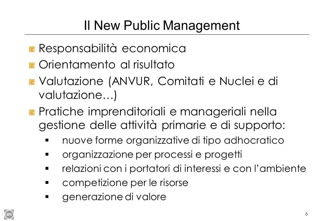 6 Il New Public Management Responsabilità economica Orientamento al risultato Valutazione (ANVUR, Comitati e Nuclei e di valutazione…) Pratiche impren