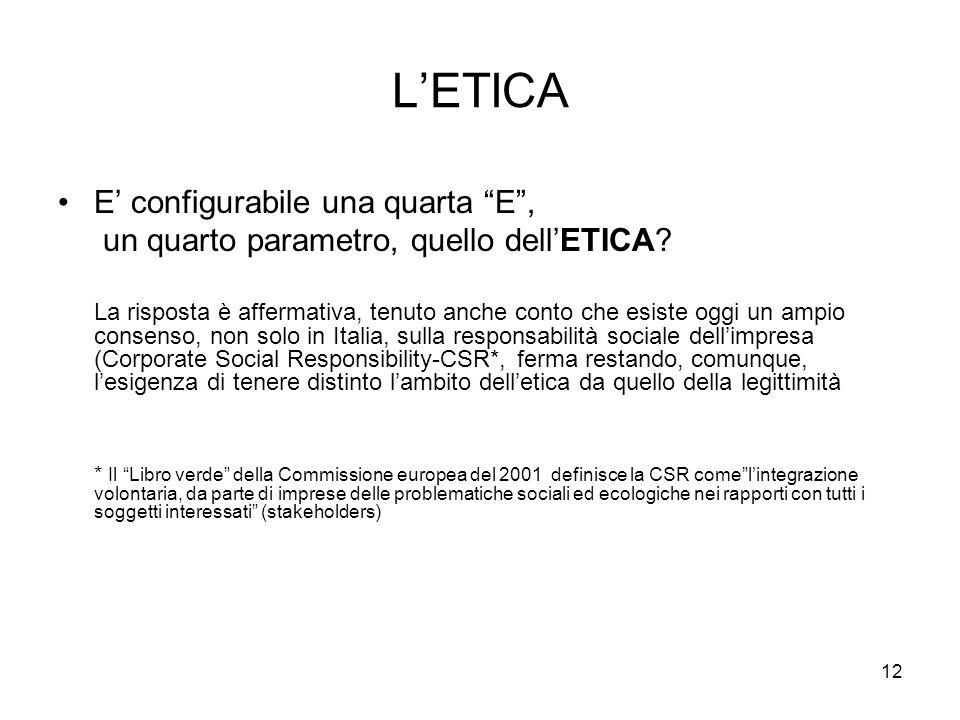 12 LETICA E configurabile una quarta E, un quarto parametro, quello dellETICA? La risposta è affermativa, tenuto anche conto che esiste oggi un ampio