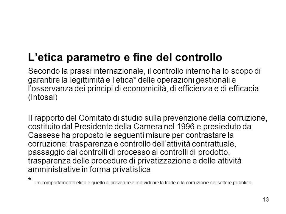13 Letica parametro e fine del controllo Secondo la prassi internazionale, il controllo interno ha lo scopo di garantire la legittimità e letica* dell