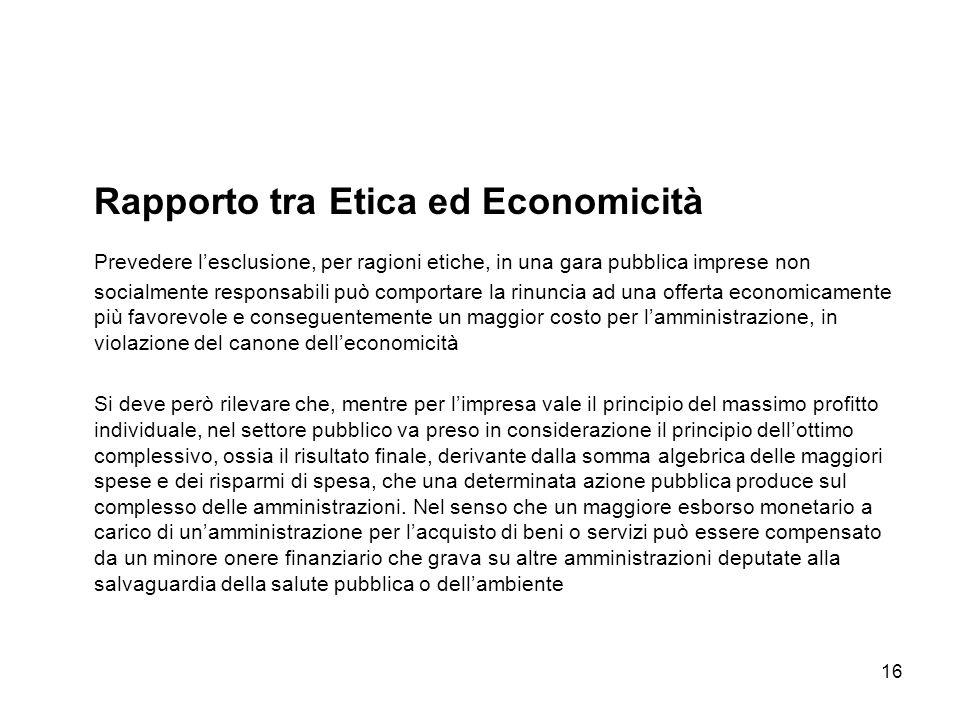 16 Rapporto tra Etica ed Economicità Prevedere lesclusione, per ragioni etiche, in una gara pubblica imprese non socialmente responsabili può comporta