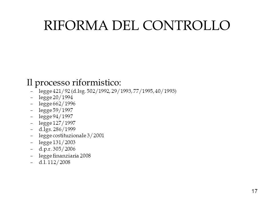 17 RIFORMA DEL CONTROLLO Il processo riformistico: –legge 421/92 (d.lsg. 502/1992, 29/1993, 77/1995, 40/1993) –legge 20/1994 –legge 662/1996 –legge 59