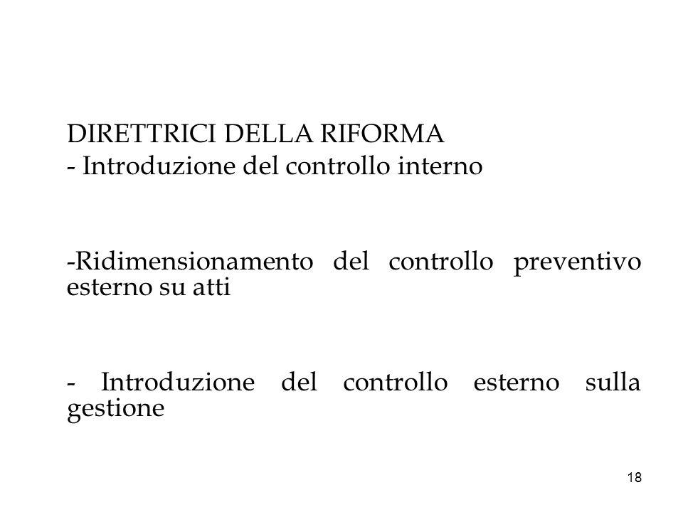 18 DIRETTRICI DELLA RIFORMA - Introduzione del controllo interno -Ridimensionamento del controllo preventivo esterno su atti - Introduzione del contro