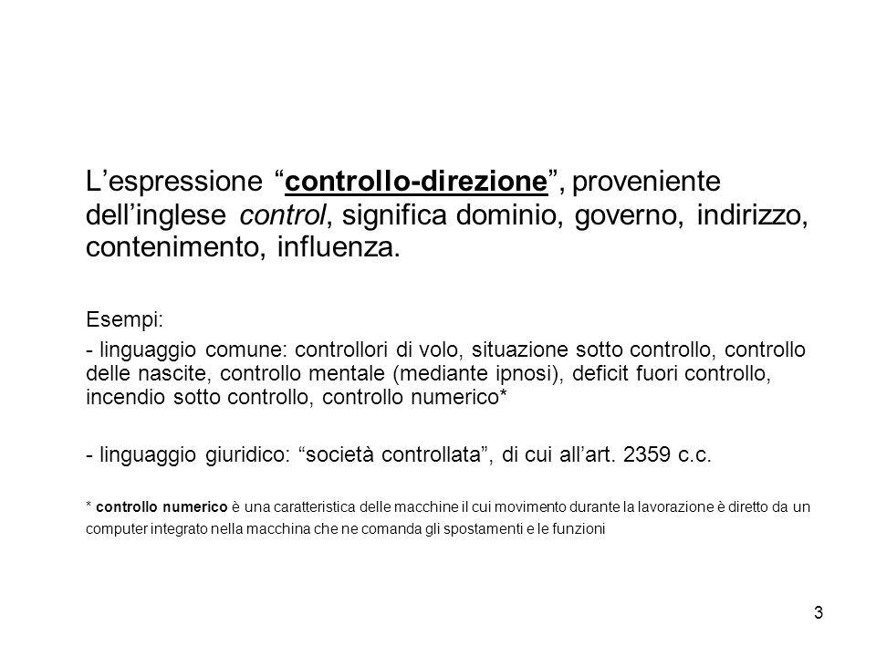 3 Lespressione controllo-direzione, proveniente dellinglese control, significa dominio, governo, indirizzo, contenimento, influenza. Esempi: - linguag