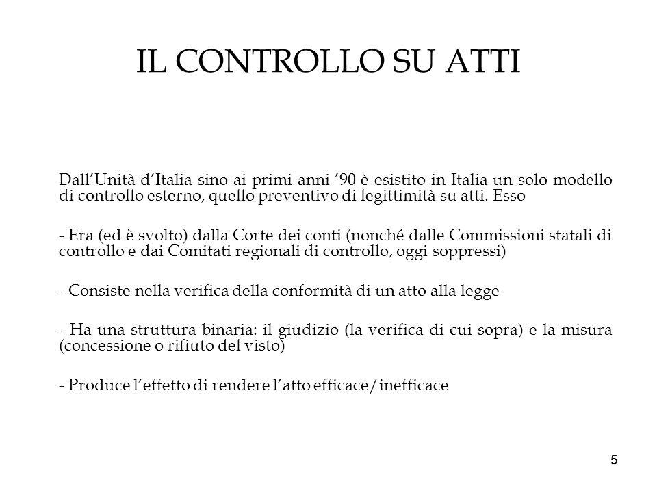 5 IL CONTROLLO SU ATTI DallUnità dItalia sino ai primi anni 90 è esistito in Italia un solo modello di controllo esterno, quello preventivo di legitti