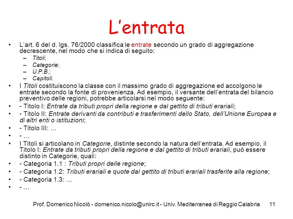 Prof. Domenico Nicolò - domenico.nicolo@unirc.it - Univ. Mediterranea di Reggio Calabria11 Lentrata Lart. 6 del d. lgs. 76/2000 classifica le entrate