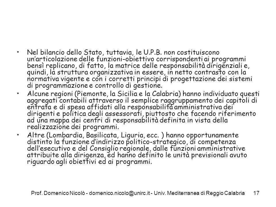 Prof. Domenico Nicolò - domenico.nicolo@unirc.it - Univ. Mediterranea di Reggio Calabria17 Nel bilancio dello Stato, tuttavia, le U.P.B. non costituis