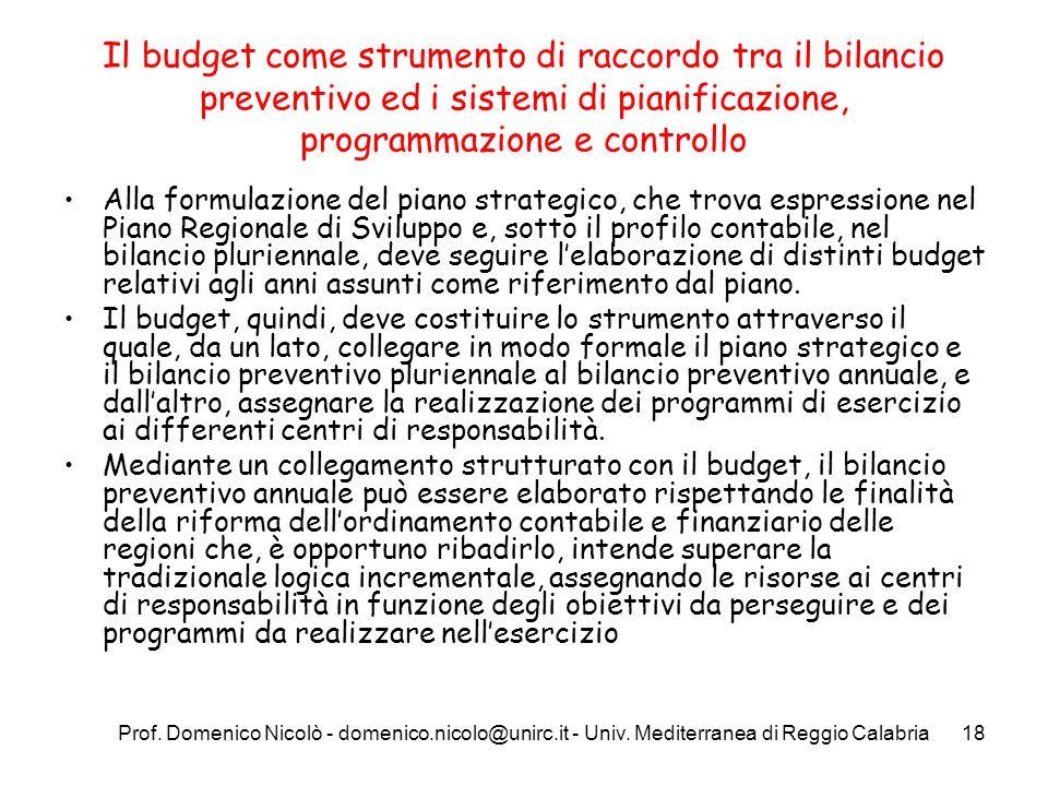 Prof. Domenico Nicolò - domenico.nicolo@unirc.it - Univ. Mediterranea di Reggio Calabria18 Il budget come strumento di raccordo tra il bilancio preven