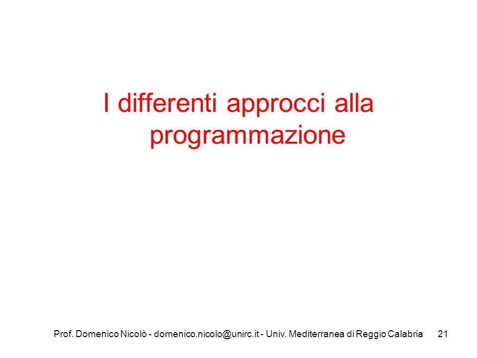 Prof. Domenico Nicolò - domenico.nicolo@unirc.it - Univ. Mediterranea di Reggio Calabria21 I differenti approcci alla programmazione