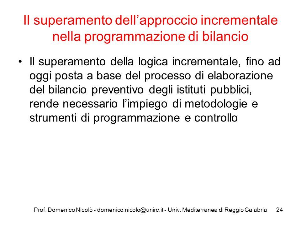 Prof. Domenico Nicolò - domenico.nicolo@unirc.it - Univ. Mediterranea di Reggio Calabria24 Il superamento dellapproccio incrementale nella programmazi