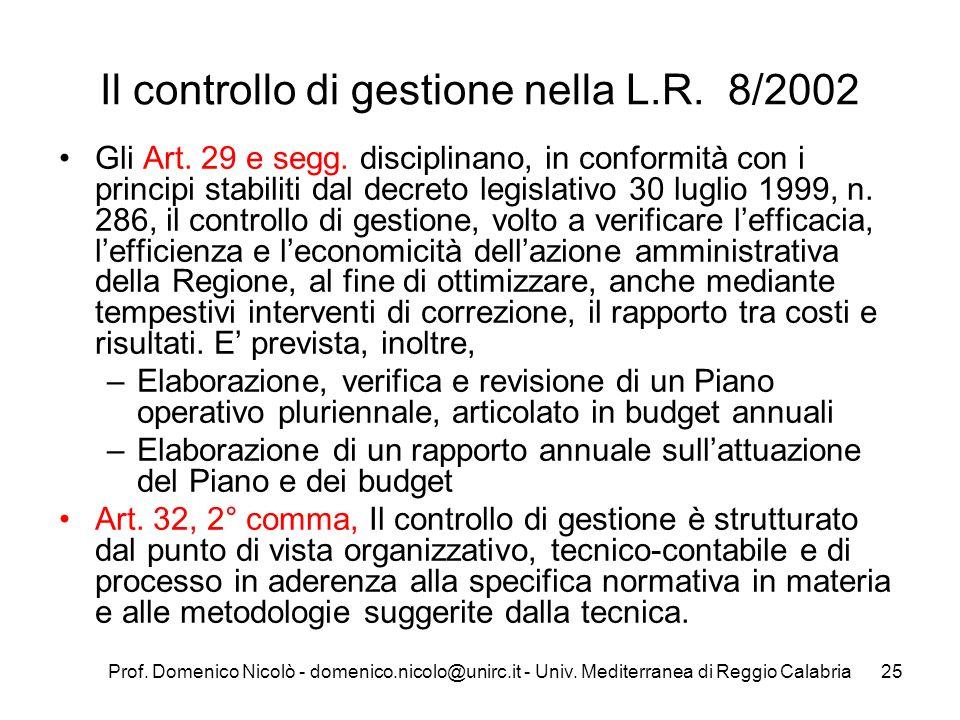 Prof. Domenico Nicolò - domenico.nicolo@unirc.it - Univ. Mediterranea di Reggio Calabria25 Il controllo di gestione nella L.R. 8/2002 Gli Art. 29 e se