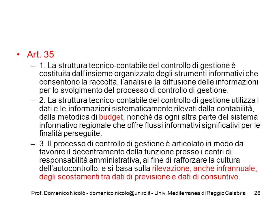 Prof. Domenico Nicolò - domenico.nicolo@unirc.it - Univ. Mediterranea di Reggio Calabria26 Art. 35 –1. La struttura tecnico-contabile del controllo di