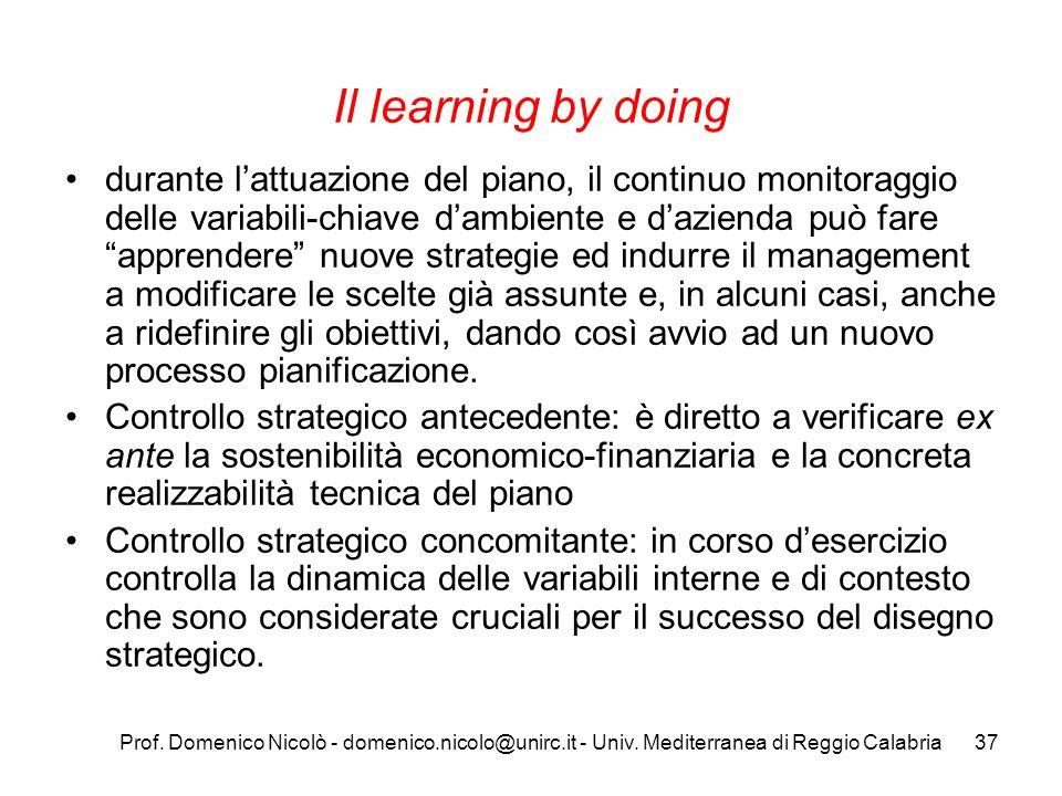 Prof. Domenico Nicolò - domenico.nicolo@unirc.it - Univ. Mediterranea di Reggio Calabria37 Il learning by doing durante lattuazione del piano, il cont