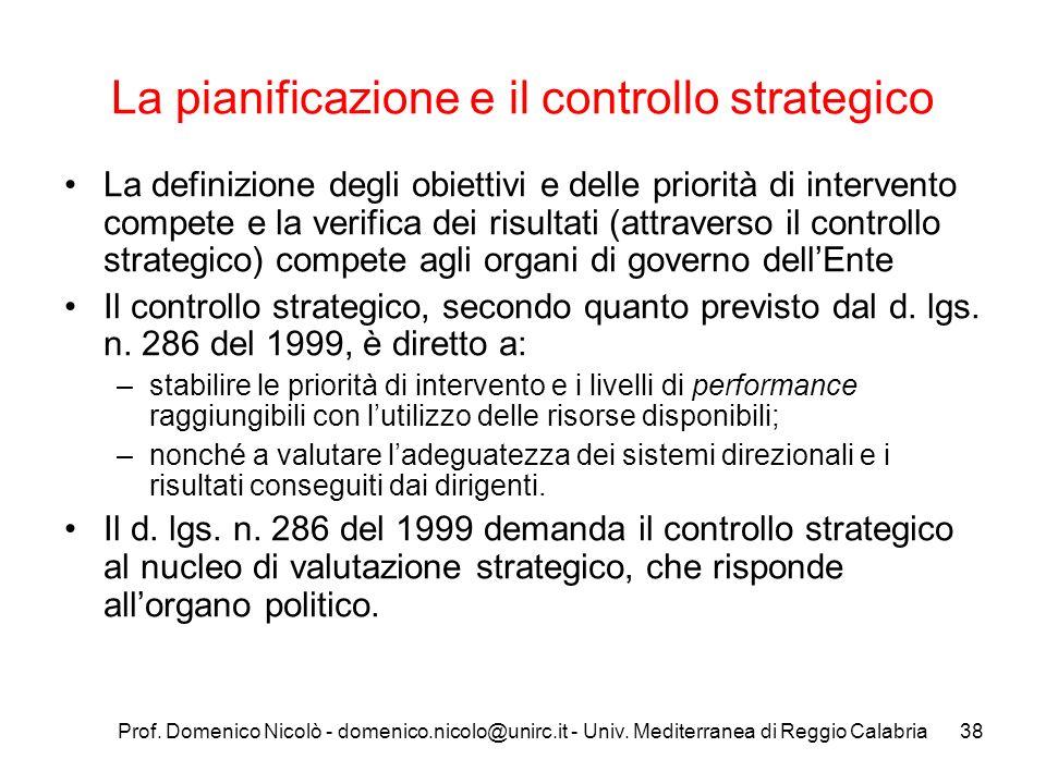Prof. Domenico Nicolò - domenico.nicolo@unirc.it - Univ. Mediterranea di Reggio Calabria38 La pianificazione e il controllo strategico La definizione