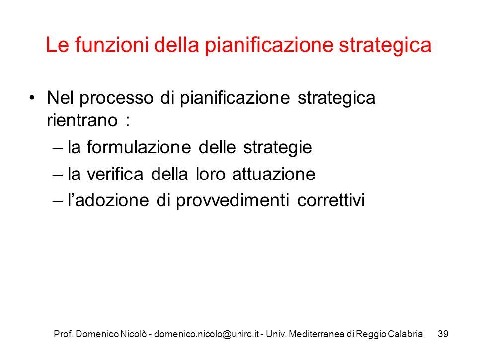Prof. Domenico Nicolò - domenico.nicolo@unirc.it - Univ. Mediterranea di Reggio Calabria39 Le funzioni della pianificazione strategica Nel processo di