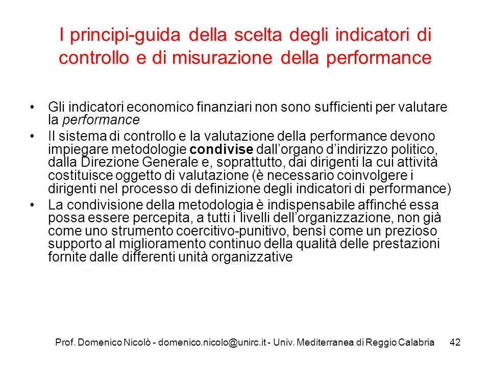 Prof. Domenico Nicolò - domenico.nicolo@unirc.it - Univ. Mediterranea di Reggio Calabria42 I principi-guida della scelta degli indicatori di controllo