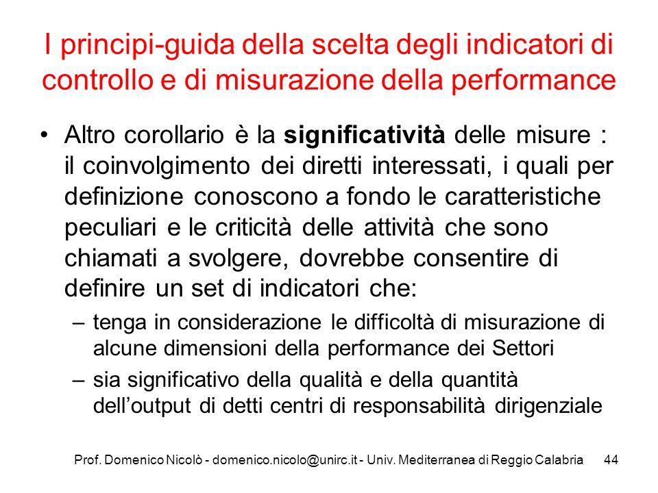 Prof. Domenico Nicolò - domenico.nicolo@unirc.it - Univ. Mediterranea di Reggio Calabria44 I principi-guida della scelta degli indicatori di controllo