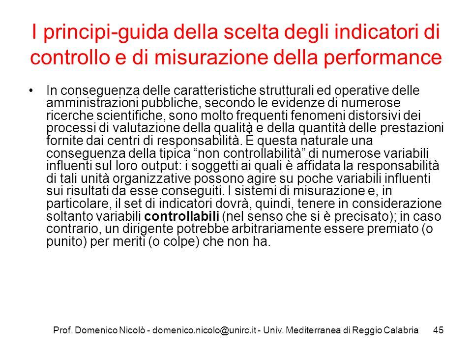 Prof. Domenico Nicolò - domenico.nicolo@unirc.it - Univ. Mediterranea di Reggio Calabria45 I principi-guida della scelta degli indicatori di controllo
