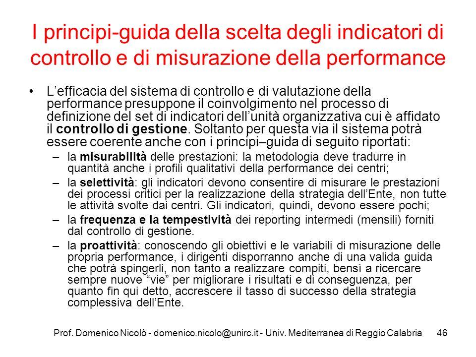 Prof. Domenico Nicolò - domenico.nicolo@unirc.it - Univ. Mediterranea di Reggio Calabria46 I principi-guida della scelta degli indicatori di controllo