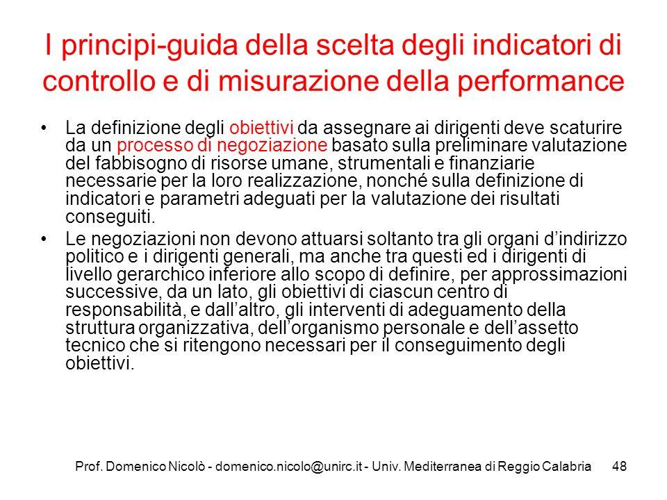 Prof. Domenico Nicolò - domenico.nicolo@unirc.it - Univ. Mediterranea di Reggio Calabria48 I principi-guida della scelta degli indicatori di controllo