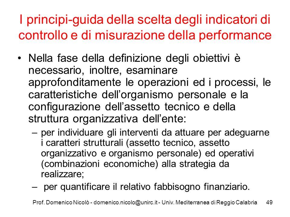 Prof. Domenico Nicolò - domenico.nicolo@unirc.it - Univ. Mediterranea di Reggio Calabria49 I principi-guida della scelta degli indicatori di controllo