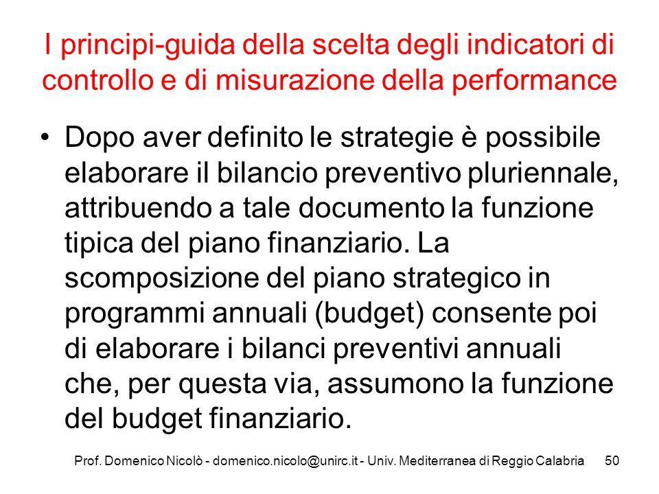 Prof. Domenico Nicolò - domenico.nicolo@unirc.it - Univ. Mediterranea di Reggio Calabria50 I principi-guida della scelta degli indicatori di controllo