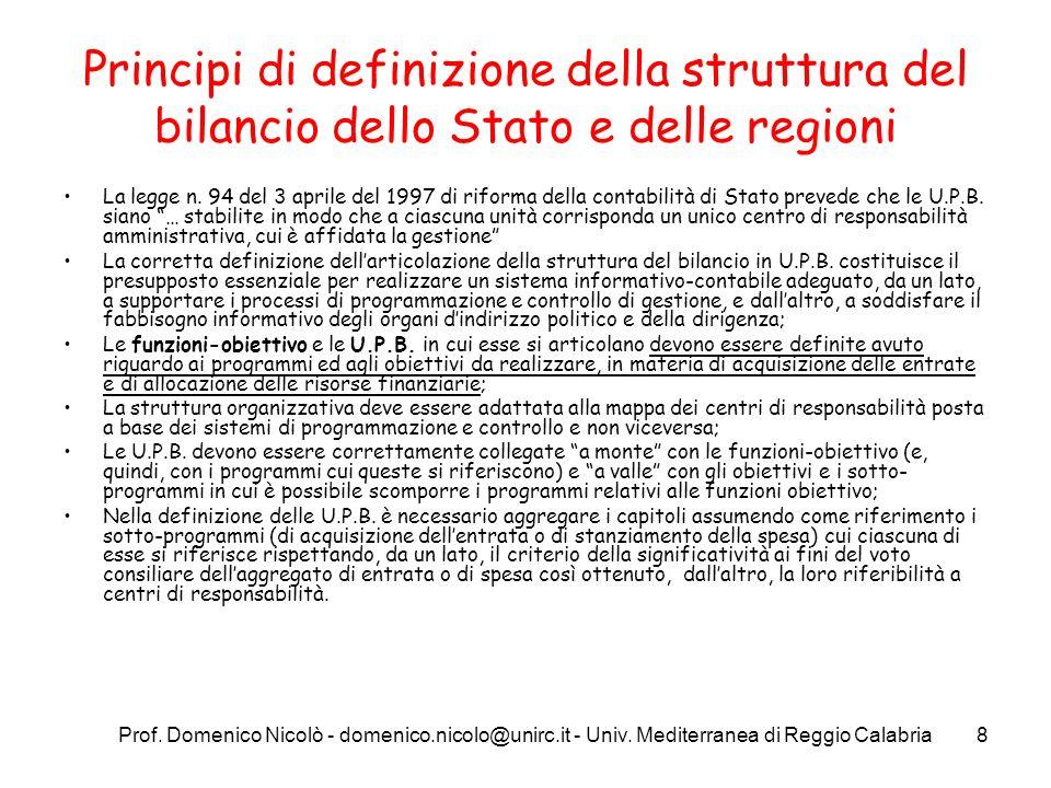 Prof. Domenico Nicolò - domenico.nicolo@unirc.it - Univ. Mediterranea di Reggio Calabria8 Principi di definizione della struttura del bilancio dello S