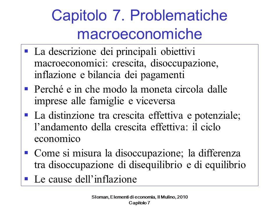 Sloman, Elementi di economia, Il Mulino, 2010 Capitolo 7 Gli obiettivi macroeconomici Un tasso di crescita di lungo periodo elevato e stabile Un basso tasso di disoccupazione Uninflazione bassa e stabile Equilibrio di bilancia dei pagamenti