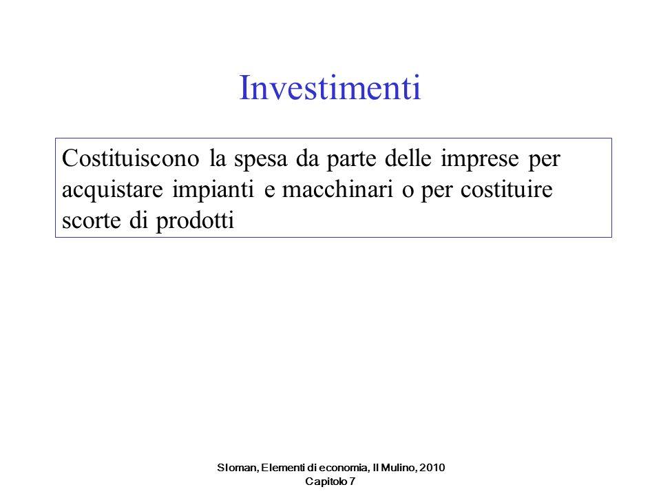 Sloman, Elementi di economia, Il Mulino, 2010 Capitolo 7 Investimenti Costituiscono la spesa da parte delle imprese per acquistare impianti e macchina