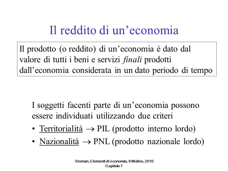 Sloman, Elementi di economia, Il Mulino, 2010 Capitolo 7 Il reddito di uneconomia Il prodotto (o reddito) di uneconomia è dato dal valore di tutti i b
