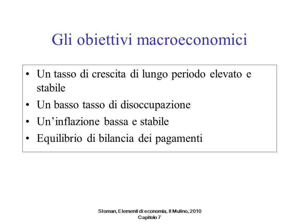 Sloman, Elementi di economia, Il Mulino, 2010 Capitolo 7 Gli obiettivi macroeconomici Un tasso di crescita di lungo periodo elevato e stabile Un basso