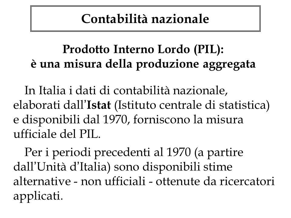 In Italia i dati di contabilità nazionale, elaborati dall Istat (Istituto centrale di statistica) e disponibili dal 1970, forniscono la misura ufficia