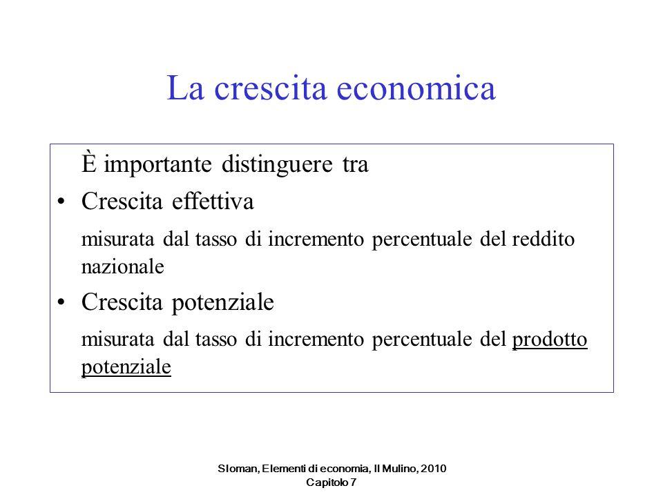 Sloman, Elementi di economia, Il Mulino, 2010 Capitolo 7 La crescita economica È importante distinguere tra Crescita effettiva misurata dal tasso di i