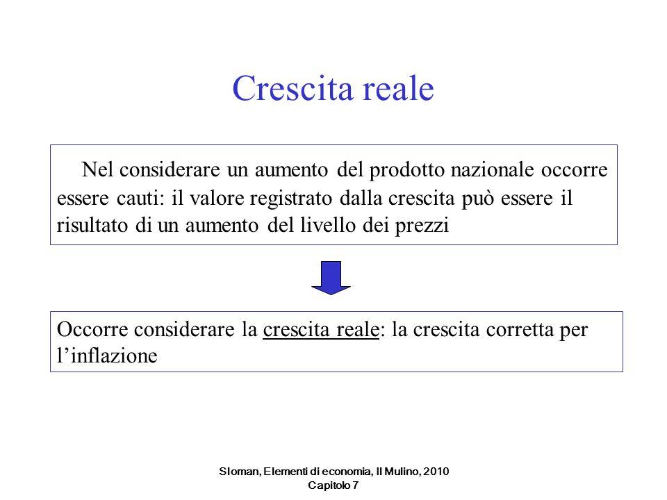 Sloman, Elementi di economia, Il Mulino, 2010 Capitolo 7 Crescita reale Nel considerare un aumento del prodotto nazionale occorre essere cauti: il val