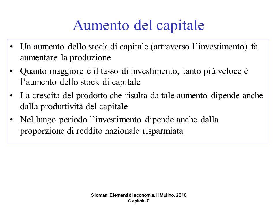 Sloman, Elementi di economia, Il Mulino, 2010 Capitolo 7 Aumento del capitale Un aumento dello stock di capitale (attraverso linvestimento) fa aumenta