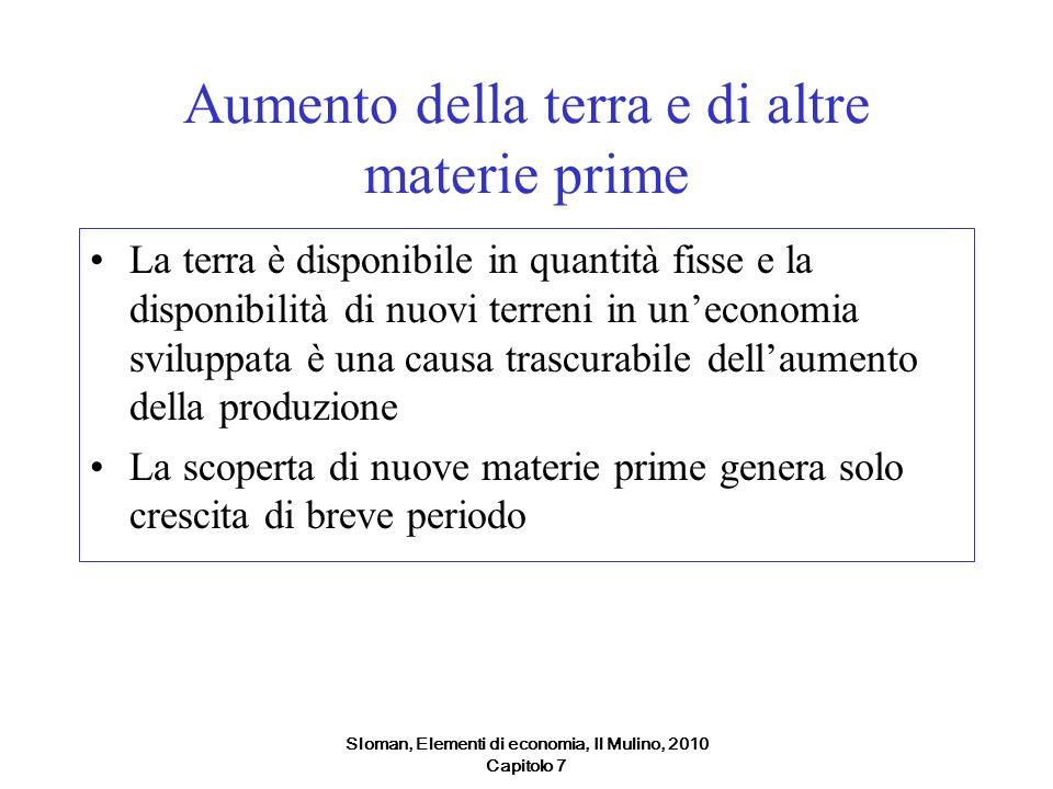 Sloman, Elementi di economia, Il Mulino, 2010 Capitolo 7 Aumento della terra e di altre materie prime La terra è disponibile in quantità fisse e la di