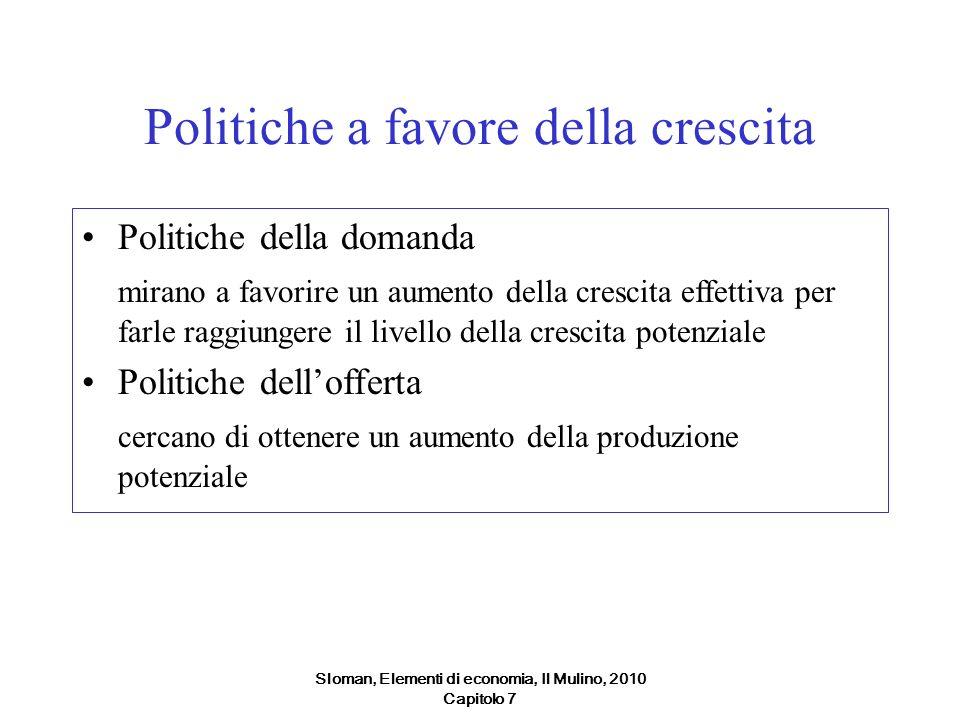 Sloman, Elementi di economia, Il Mulino, 2010 Capitolo 7 Politiche a favore della crescita Politiche della domanda mirano a favorire un aumento della