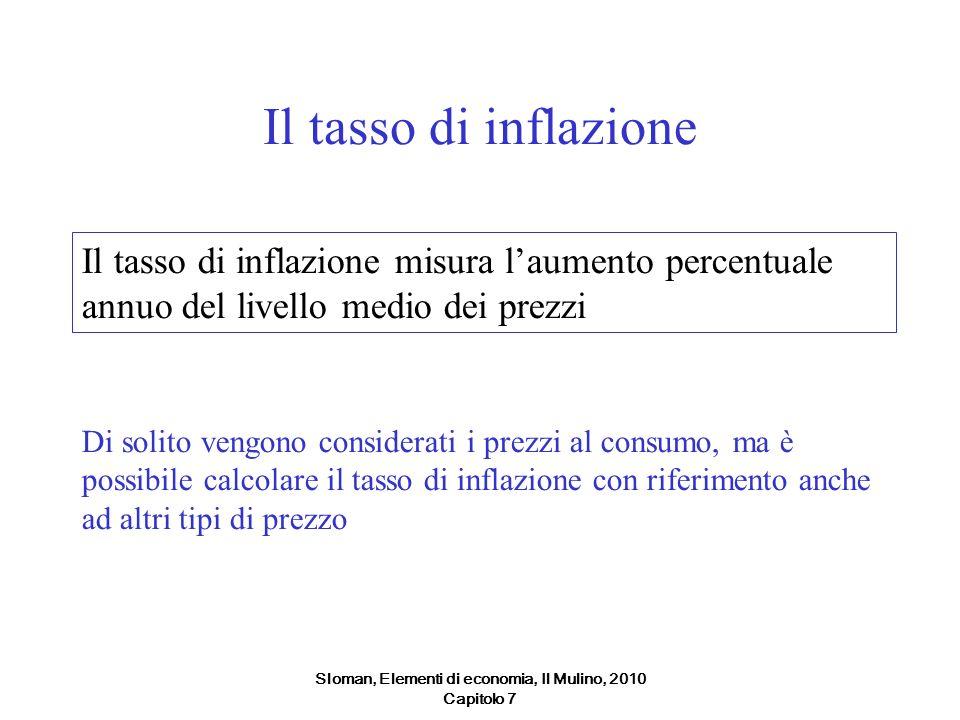 Sloman, Elementi di economia, Il Mulino, 2010 Capitolo 7 Il tasso di inflazione Il tasso di inflazione misura laumento percentuale annuo del livello m
