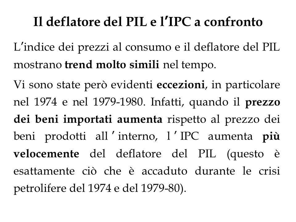 Il deflatore del PIL e l IPC a confronto L indice dei prezzi al consumo e il deflatore del PIL mostrano trend molto simili nel tempo. Vi sono state pe