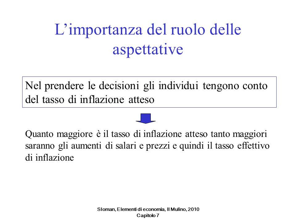 Sloman, Elementi di economia, Il Mulino, 2010 Capitolo 7 Limportanza del ruolo delle aspettative Nel prendere le decisioni gli individui tengono conto