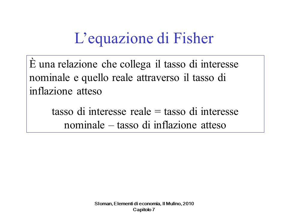 Sloman, Elementi di economia, Il Mulino, 2010 Capitolo 7 Lequazione di Fisher È una relazione che collega il tasso di interesse nominale e quello real