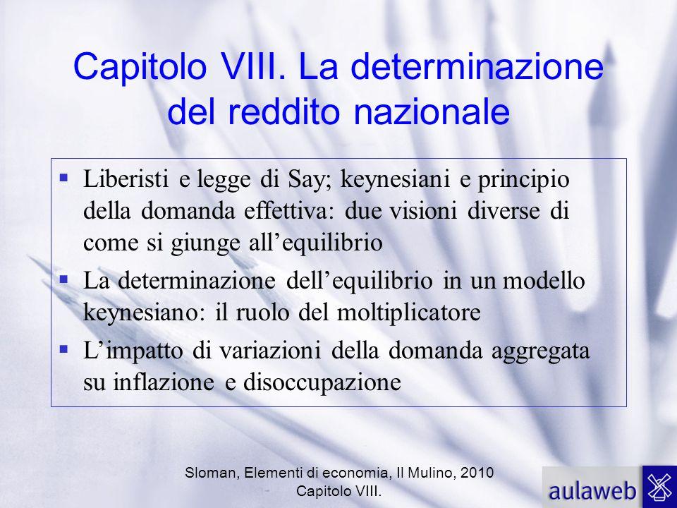 Sloman, Elementi di economia, Il Mulino, 2010 Capitolo VIII. Capitolo VIII. La determinazione del reddito nazionale Liberisti e legge di Say; keynesia