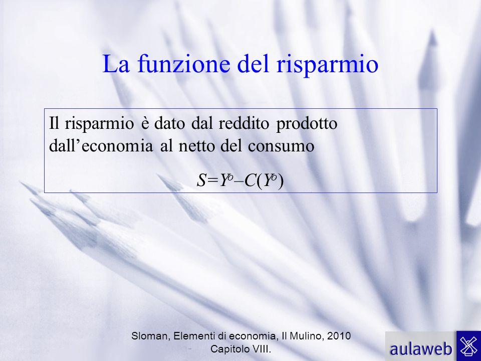 Sloman, Elementi di economia, Il Mulino, 2010 Capitolo VIII. La funzione del risparmio Il risparmio è dato dal reddito prodotto dalleconomia al netto