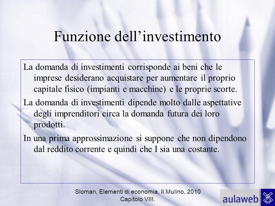 Sloman, Elementi di economia, Il Mulino, 2010 Capitolo VIII. Funzione dellinvestimento La domanda di investimenti corrisponde ai beni che le imprese d