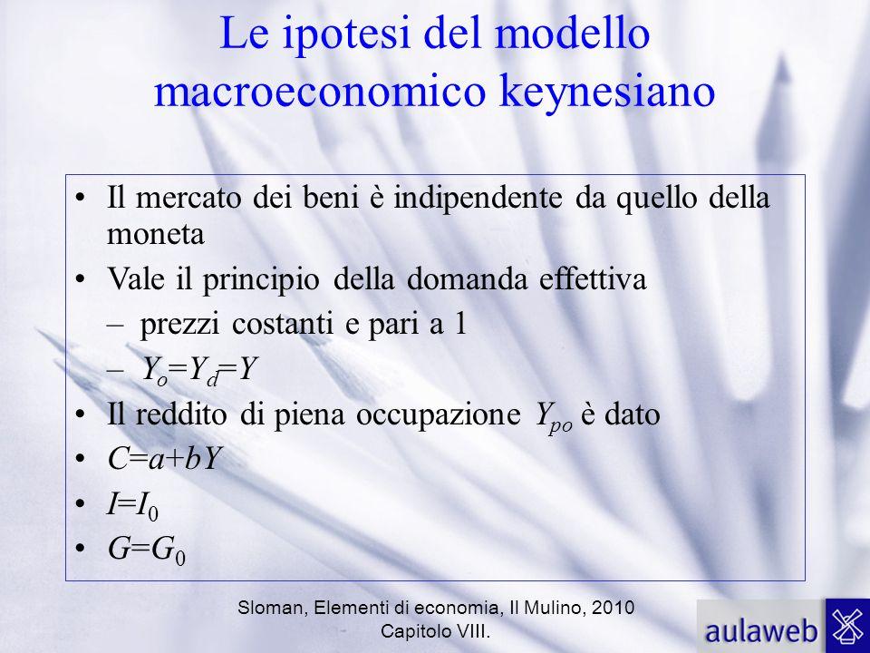 Sloman, Elementi di economia, Il Mulino, 2010 Capitolo VIII. Le ipotesi del modello macroeconomico keynesiano Il mercato dei beni è indipendente da qu