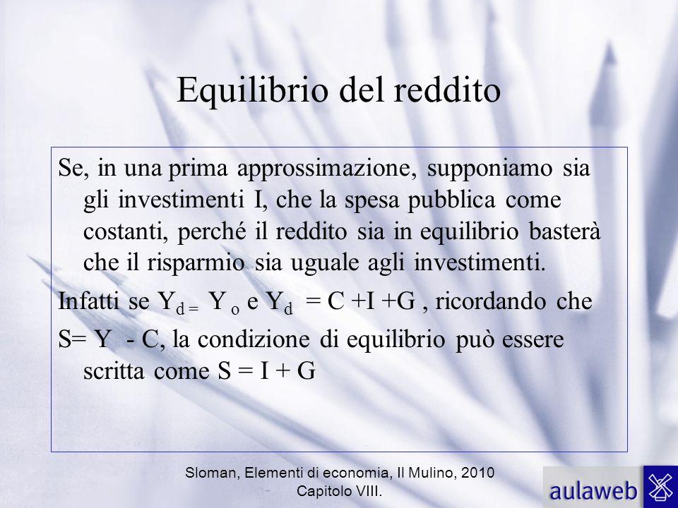 Sloman, Elementi di economia, Il Mulino, 2010 Capitolo VIII. Equilibrio del reddito Se, in una prima approssimazione, supponiamo sia gli investimenti