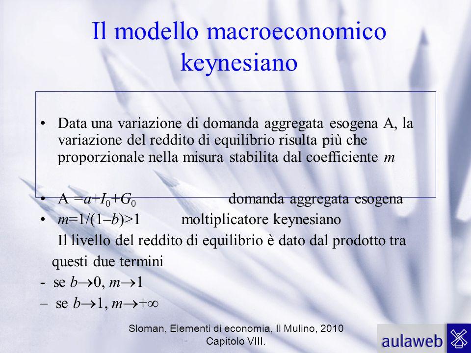 Sloman, Elementi di economia, Il Mulino, 2010 Capitolo VIII. Il modello macroeconomico keynesiano Data una variazione di domanda aggregata esogena A,